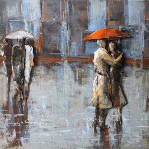 art metal couple sous la plue