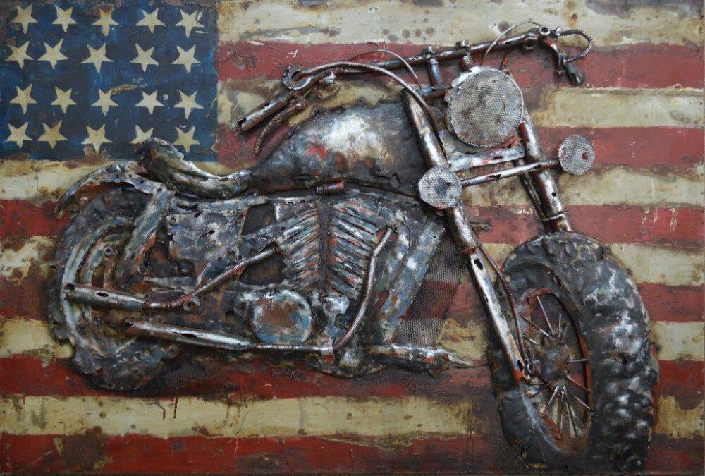 art metal moto drapeeeau americain