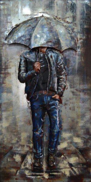 art métal homme au parapluie