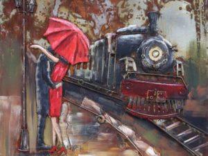 Art metal train couple