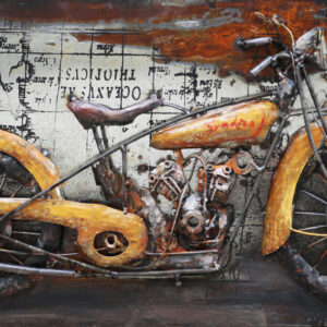 art metal moto retro jaune