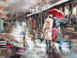 Peinture métale Marché sous la pluie