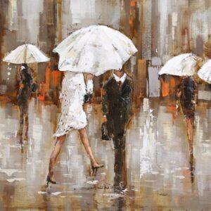 art metal sous la pluie