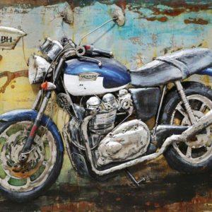 art metal moto de course bleu