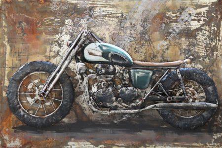 Tableau art métal et bois relief moto