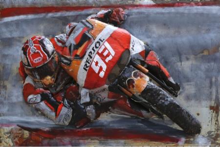 Tableau Art Métal et bois en relief moto