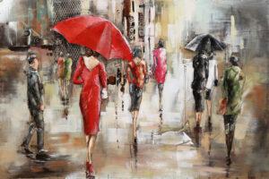 Tableau Métal Parapluie Rouges