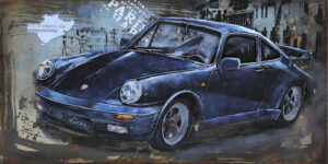 Tableau Métal Porsche Bleue