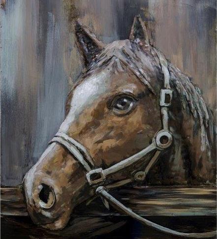 Tableau art métal relief cheval