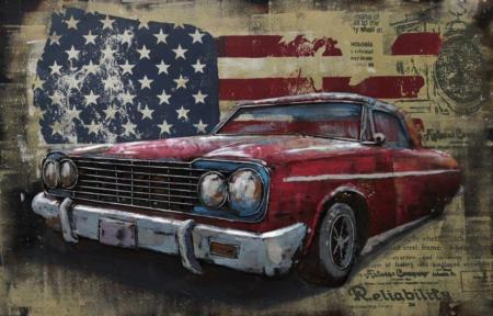 Tableau métal et bois relief Vintage voiture
