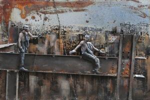 Tableau art métal relief ouvriers