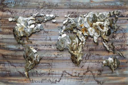 Tableau Carte du monde métal