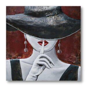 Tableau Femme pour salon rouge et noir