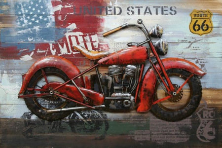 Tableau moto vintage rouge