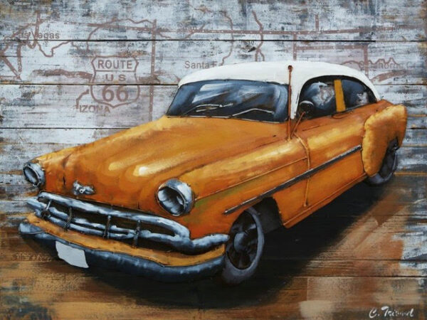 Tableau voiture vintage jaune